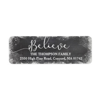 Believe in Christmas Snow Vintage Chalkboard Return Address Label