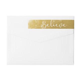 Believe in Christmas Vintage Gold Snowy Wraparound Return Address Label