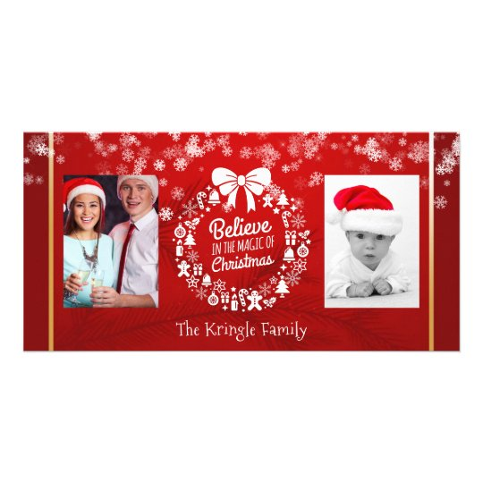 Believe in Christmas Wreath Snowflakes Red 2 Photo Card