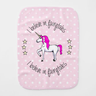 Believe in fairytales unicorn cartoon baby burp cloths