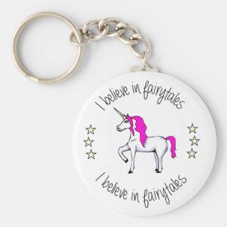 Believe in fairytales unicorn cartoon basic round button keychain
