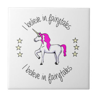 Believe in fairytales unicorn cartoon girls ceramic tile