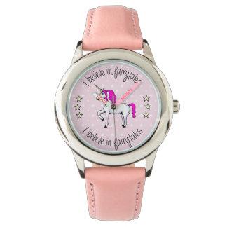 Believe in fairytales unicorn cartoon watch