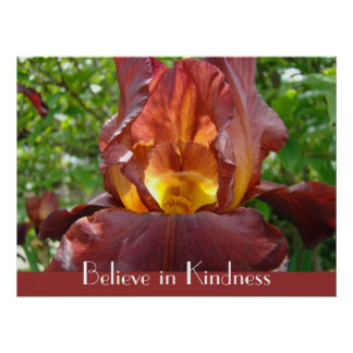 Believe in Kindness art prints gifts Iris Flower Poster