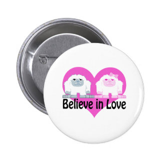 Believe in Love! Cute Yetis 2 Inch Round Button