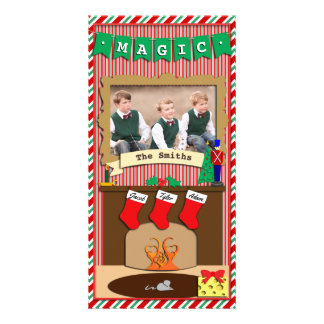 Believe in Magic • Christmas Spirit • 3 Stocking Photo Greeting Card