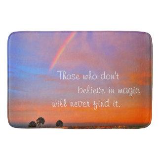 """""""Believe in Magic"""" Quote Rainbow Sunrise Photo Bath Mat"""
