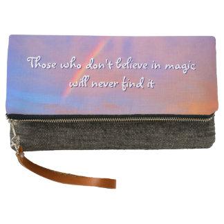 """Believe in Magic"" Quote Rainbow Sunrise Photo Clutch"