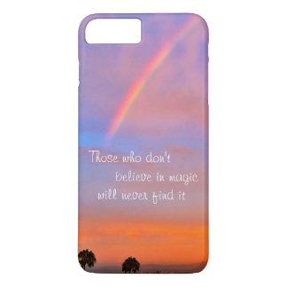 """""""Believe in Magic"""" Quote Rainbow Sunrise Photo iPhone 8 Plus/7 Plus Case"""
