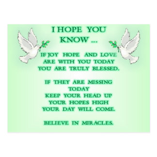 believe in miracles postcard