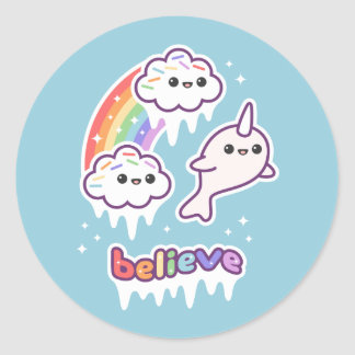Believe in Narwhals Classic Round Sticker