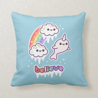 Believe in Narwhals Throw Pillow