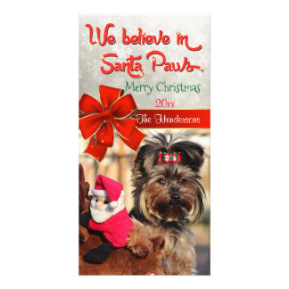 Believe in Santa Paws Photo Personalized Photo Card