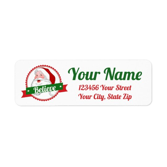 Believe in Santa  Personalize Return Address Label