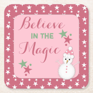 Believe in the magic Christmas coaster