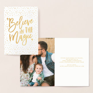 Believe In The Magic | Foil Holiday Photo Card