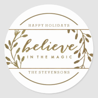 Believe in the Magic | Holiday Gold Wreath Sticker