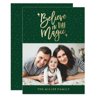 Believe In The Magic | Holiday Photo Card in Green