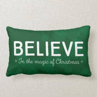 Believe in the magic of Christmas • green bokeh Lumbar Pillow