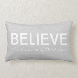 Believe in the magic of Christmas • grey pattern Lumbar Pillow