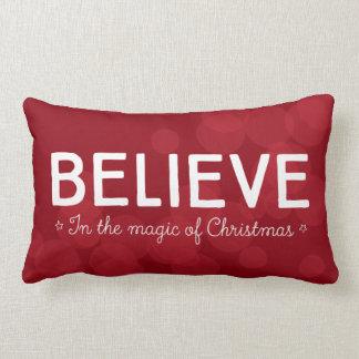 Believe in the magic of Christmas • red bokeh Lumbar Pillow