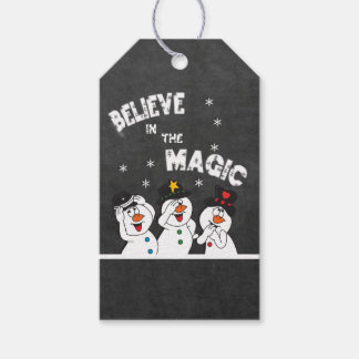 Believe in the Magic Snowmen | Chalkboard Style Pack Of Gift Tags