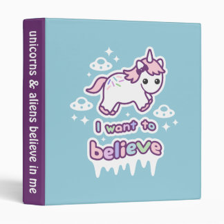 Believe in Unicorns and Aliens 3 Ring Binder