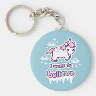 Believe in Unicorns and Aliens Keychain