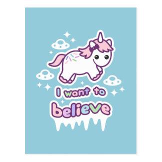 Believe in Unicorns and Aliens Postcard