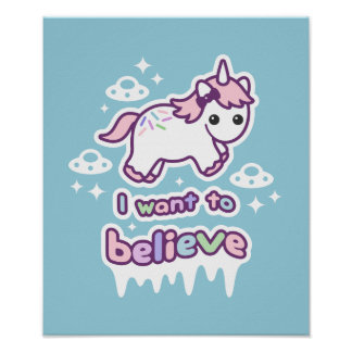 Believe in Unicorns and Aliens Poster