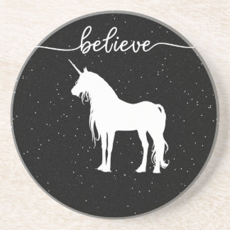 Believe in Unicorns Design Starry Sky Background Coaster