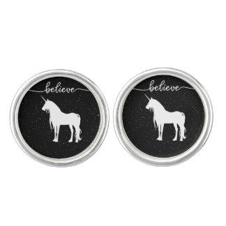 Believe in Unicorns Design Starry Sky Background Cufflinks