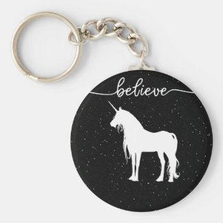 Believe in Unicorns Design Starry Sky Background Keychain