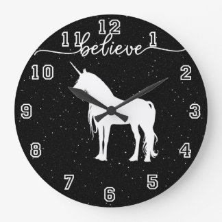 Believe in Unicorns Design Starry Sky Background Large Clock
