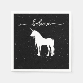 Believe in Unicorns Design Starry Sky Background Paper Napkin