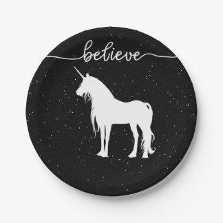 Believe in Unicorns Design Starry Sky Background Paper Plate