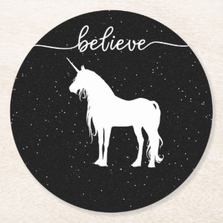 Believe in Unicorns Design Starry Sky Background Round Paper Coaster