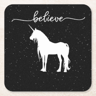Believe in Unicorns Design Starry Sky Background Square Paper Coaster