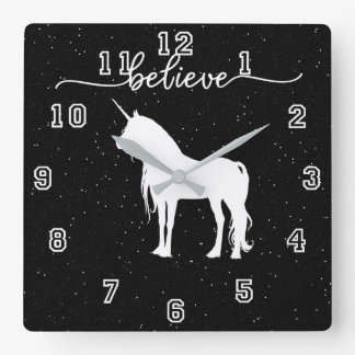 Believe in Unicorns Design Starry Sky Background Square Wall Clock
