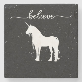 Believe in Unicorns Design Starry Sky Background Stone Coaster