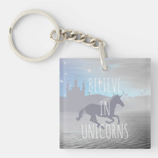 Believe in Unicorns Double-Sided Square Acrylic Keychain