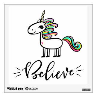 Believe in Unicorns, hand-drawn Wall Decal