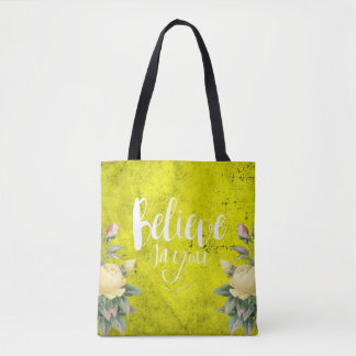Believe in You - Tote - Bag - Yellow Rose