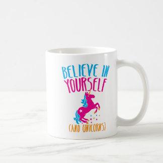 Believe in yourself (and unicorns) coffee mug