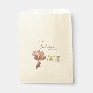 BELIEVE IN YOURSELF, ANYTHING POSSIBLE RUST FLORAL FAVOUR BAG