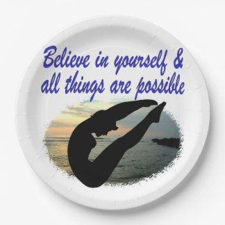 BELIEVE IN YOURSELF DIVER DREAMS 9 INCH PAPER PLATE