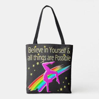 BELIEVE IN YOURSELF GYMNASTICS DESIGN TOTE BAG