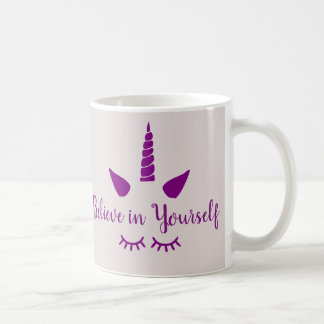 Believe in Yourself Purple Unicorn Mug