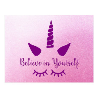 Believe in Yourself Unicorn Pink Purple Postcard