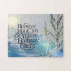 Believe In Yourself Winter Snow Motivational Quote Jigsaw Puzzle